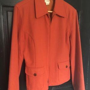 J crew orange wool zip up jacket 8